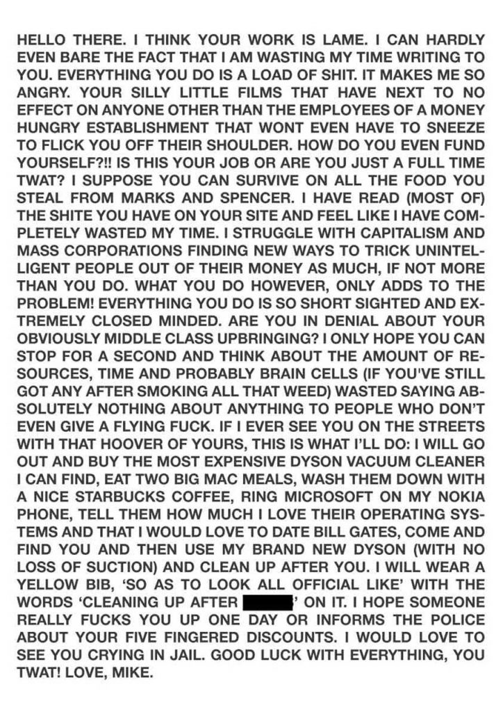 a typed piece of hate mail to James Leadbitter the vacuum cleaner