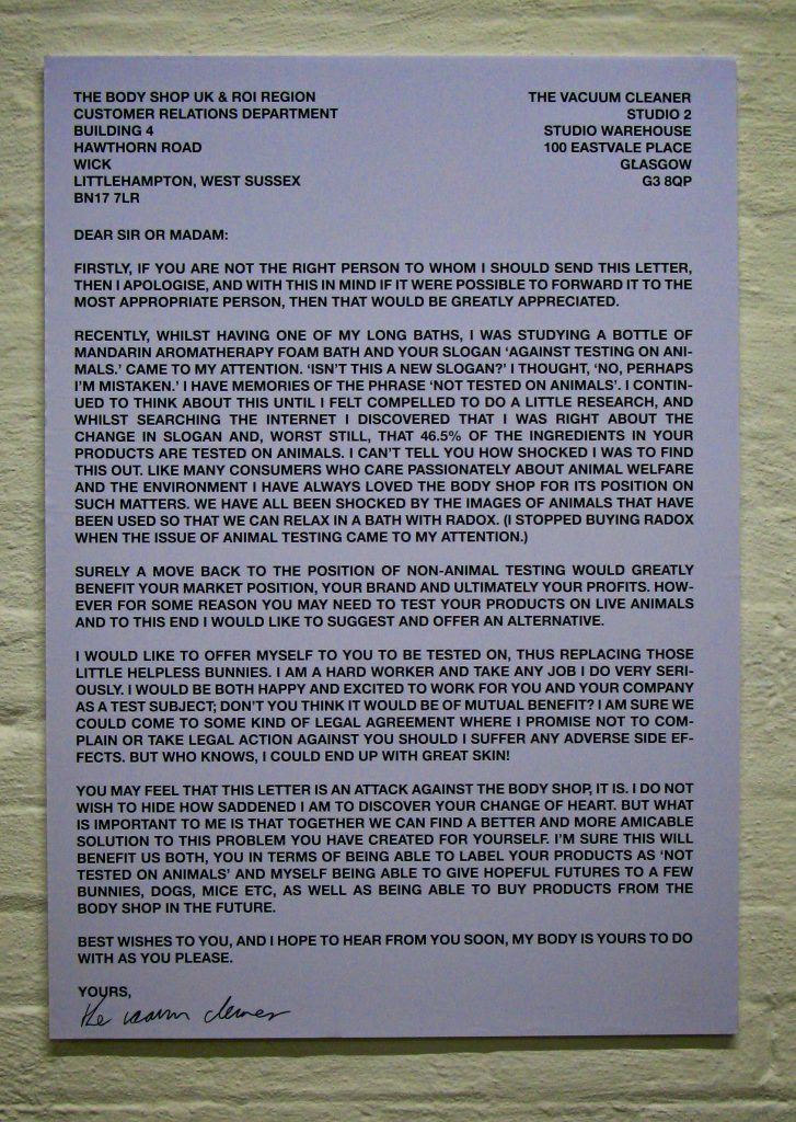 photograph of a letter to The Body Shop from the vacuum cleaner