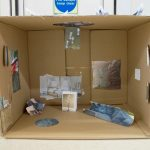 the inside of a cardboard box showing a miniature design for the perfect bedroom