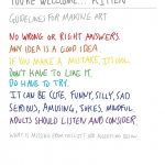 hand-written poster outlining guidelines for making art