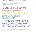 hand-written poster outlining guidelines for making art