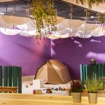 Madlove take over children's play area, cardboard tent and purple walls