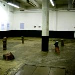 wide view of exhibition space showing letters on the wall, logs on the floor and evidence bags hanging from the ceiling