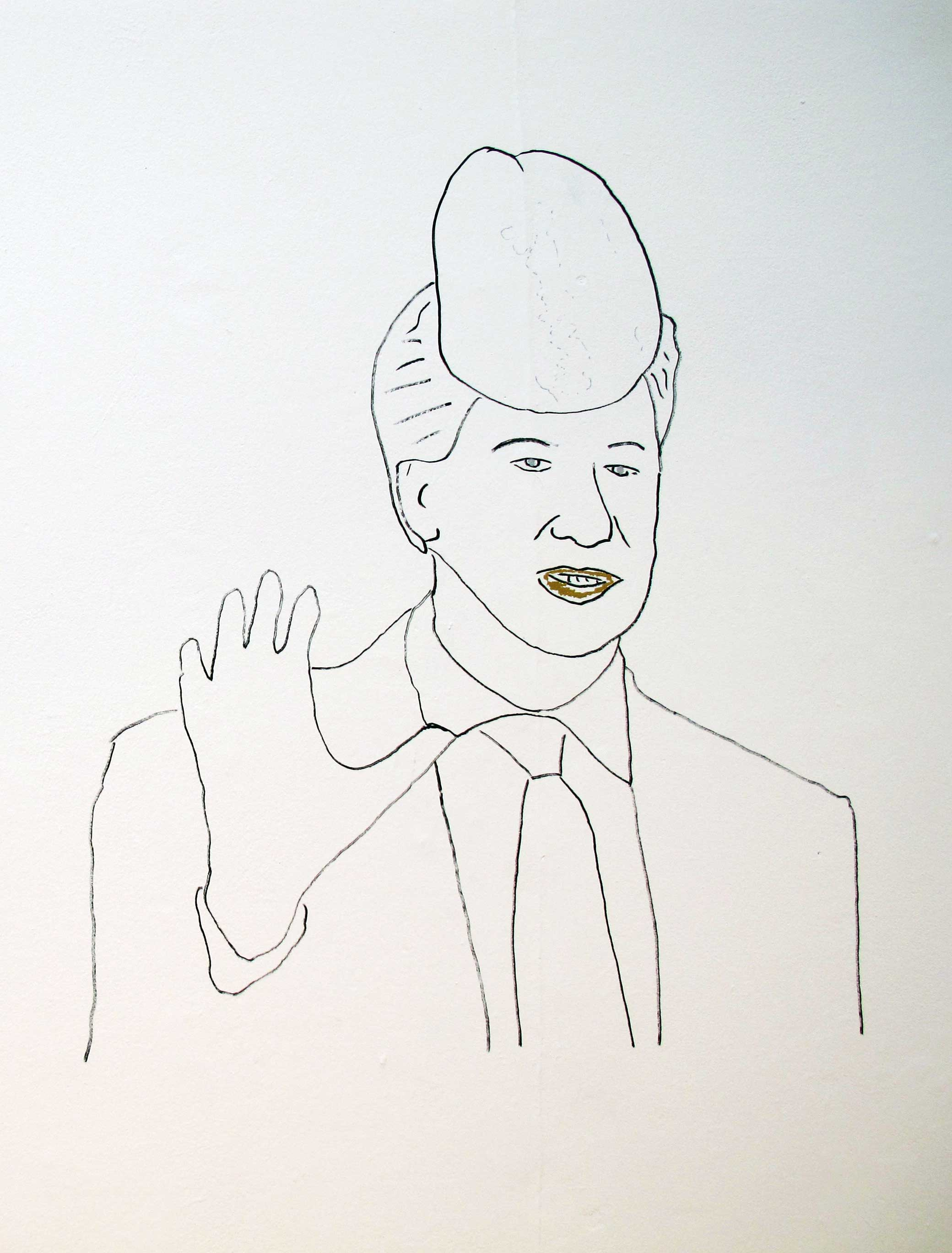 a hand drawn image of a man waving with the top of a penis on his head
